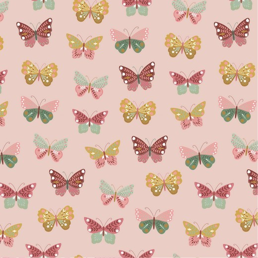 Happy Garden Butterfly altrosa, Baumwoll-Popeline bei 60° waschbar