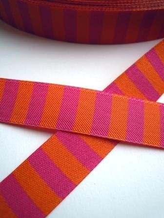 Ringelband, pink-orange, Webband beidseitig