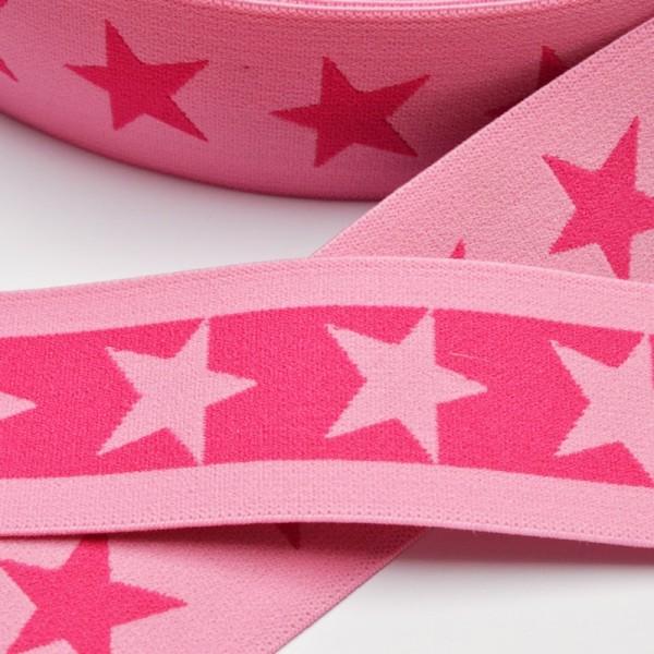 Gummiband breit, Sterne pink-rosa