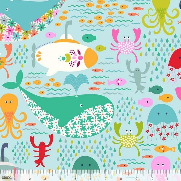blendfabrics, Go Fish, Meeresbewohner auf mint, Webstoff
