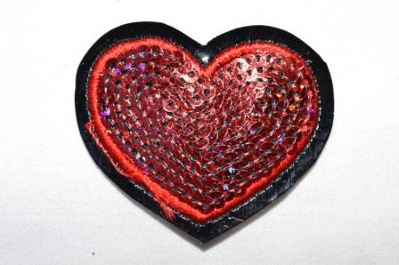 Applikation Herz mit Pailletten, rot