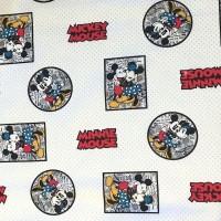 Disney, Mickey&Minnie Mouse weiß, Webstoff