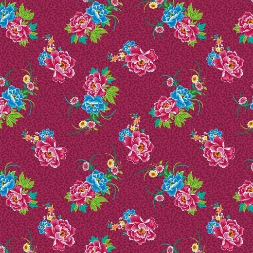 Leo Flowers, pink auf zyklam, Baumwoll-Popeline, 60°waschbar