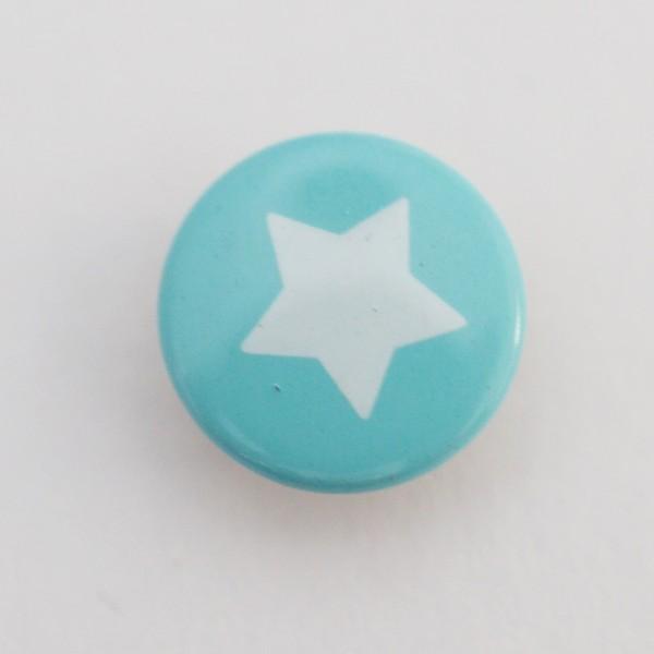 Druckknopf, Stern weiß auf türkis, 10 mm