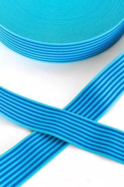 Gummiband breit, Streifen blau-türkis