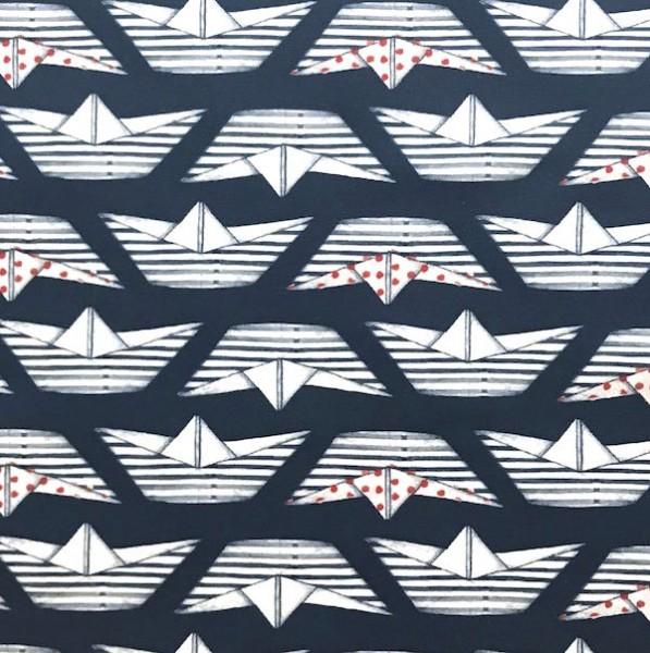 Papierschiffe auf dunkelblau, Jersey