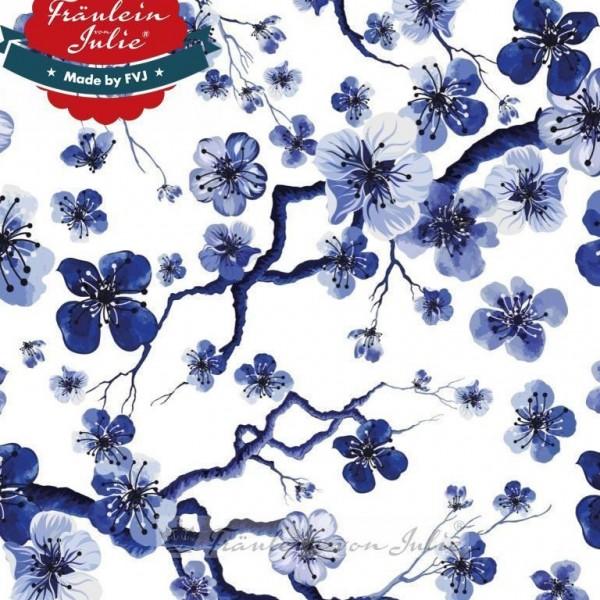 Fräulein von Julie, Blütenzweige blau auf weiß, Jersey