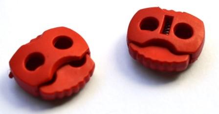 Kordelstopper, 2 löchrig, rot