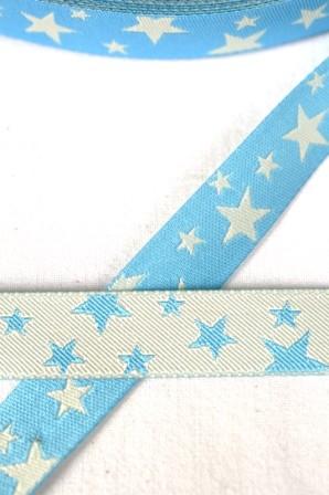 unregelmäßige Sterne, hellblau-weiß, Webband beidseitig