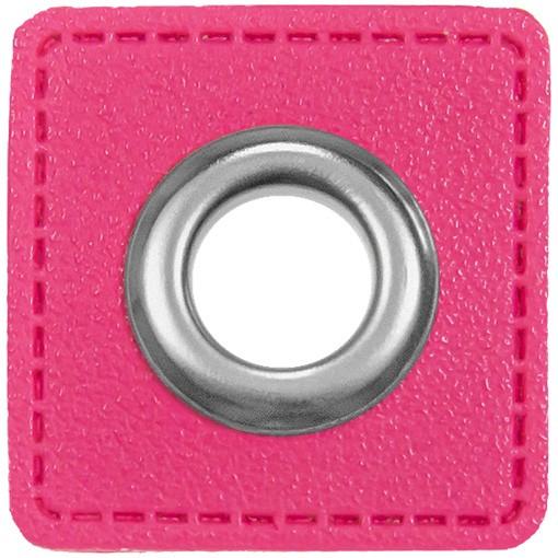 Kunstleder Ösenpatch, Quadrat, 10 mm Ø, pink