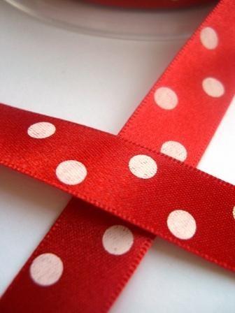 Satinband, polka dots, rot, 15 mm