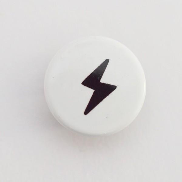 Druckknopf, Blitz schwarz auf weiß, 10 mm