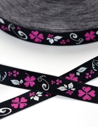 Kleeblatt, pink/lurex, Webband