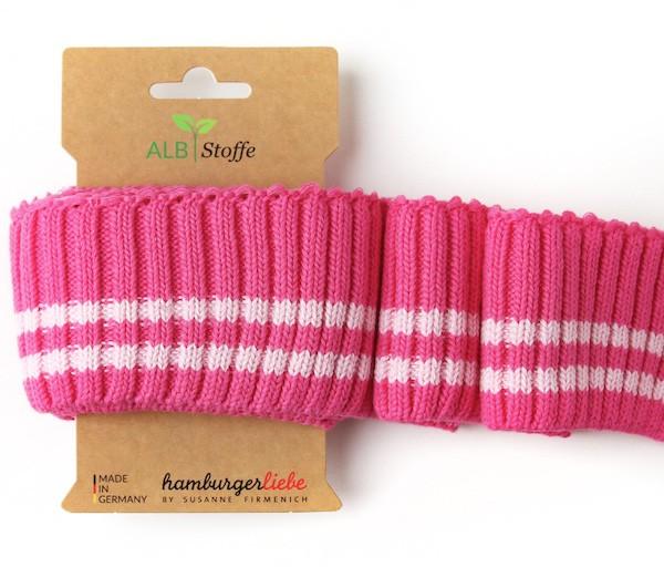 Strickbündchen Cuff Me THIS SUMMER Cozy Stripes pink/rosa schmal, 110 cm
