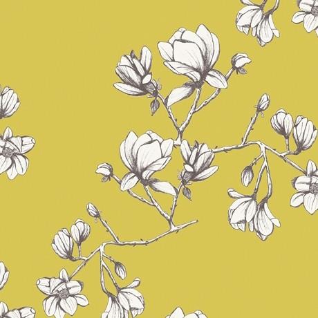 Art Gallery, Wild Bloom Magnolia Study Zest, Webstoff