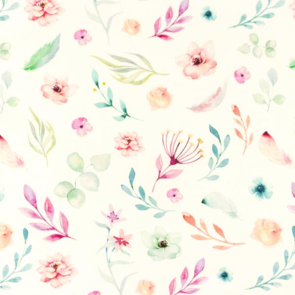 Digitaldruck Pastellblumen bunt auf weiß, Baumwollstoff