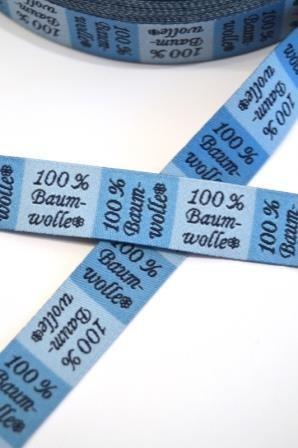 Textilkennzeichnung, 100% Baumwolle, blau, Webband