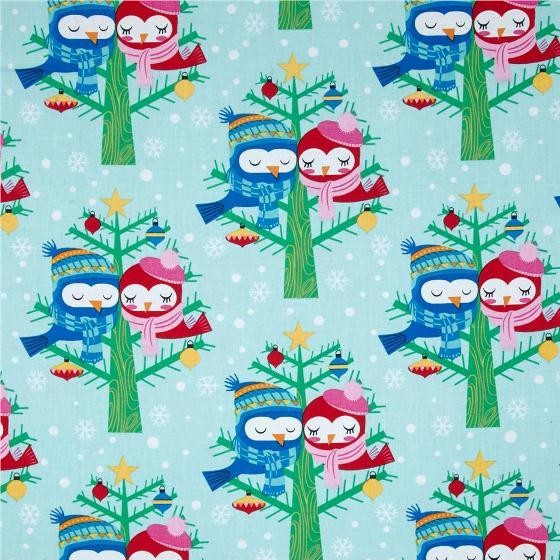 Michael Miller, Christmas Lovebirds blue *SALE*