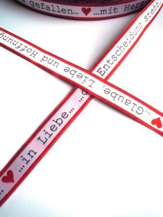Glaube, Liebe, Hoffnung, rot,Webband