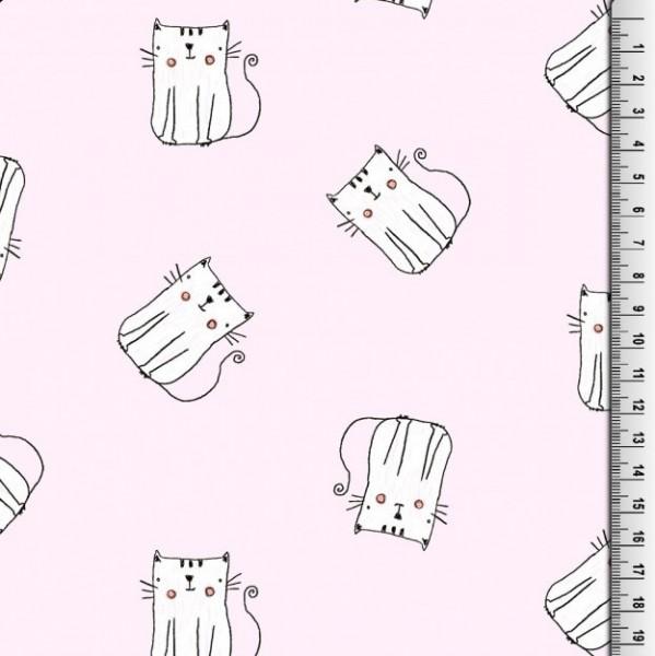 Kleines Kätzchen auf rosa, Bio-Jersey, *Letztes Stück ca. 60 cm*