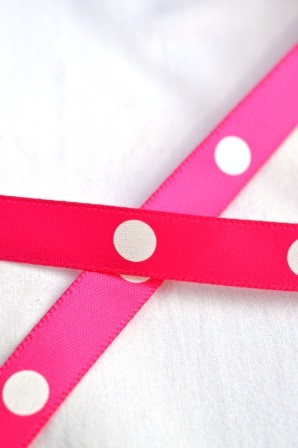 Satinband, single dots, pink, 10 mm