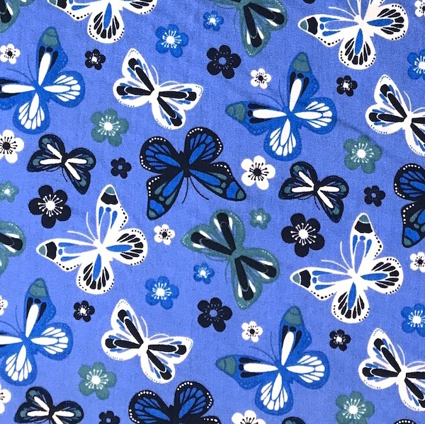 Butterfly&Flowers blau, Webstoff