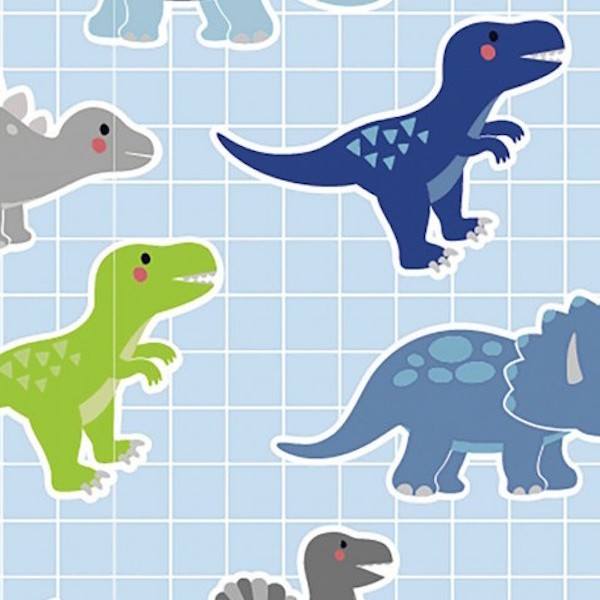 Jersey, Dinos auf Karo hellblau