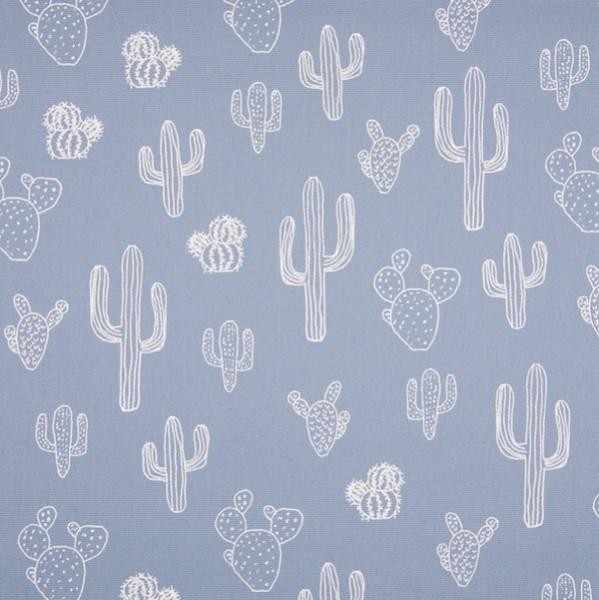 Alfredo Dekostoff Kaktus weiß auf hellblau