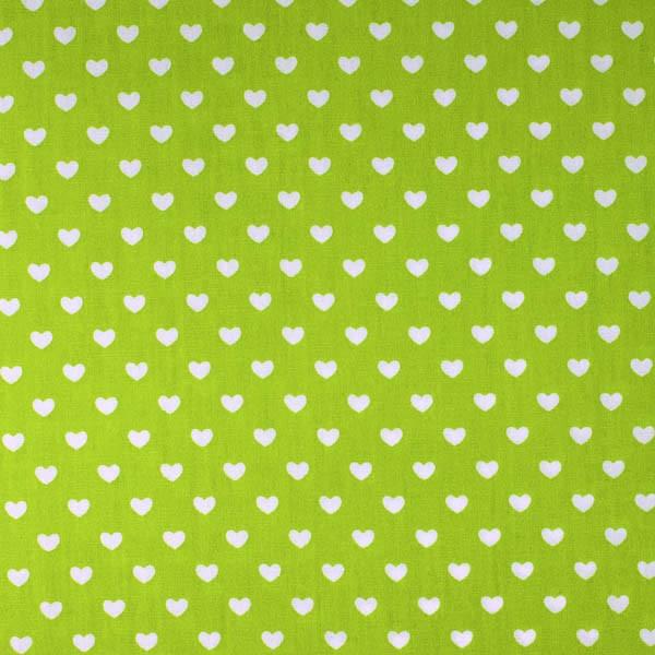 Herzen klein, hellgrün, Webstoff