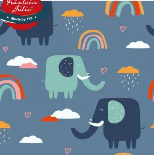 Fräulein von Julie, Elefanten&Regenbogen auf blau, Jersey