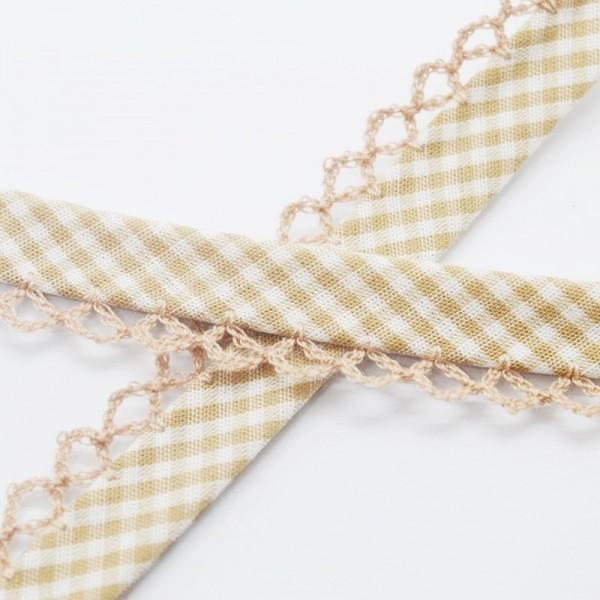 Schrägband mit Häkelborte, Vichykaro, hellbraun