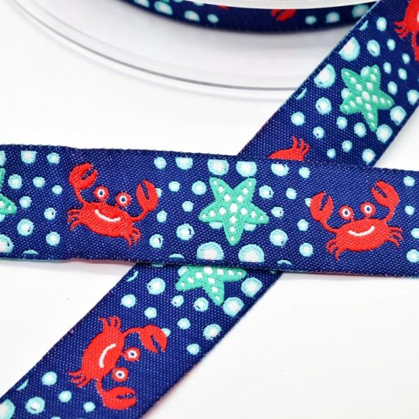 Krabbe und Seestern, dunkelblau, Webband