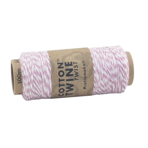 Cotton Twine, altrosa-weiß, 100 m