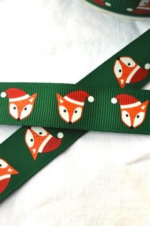 Weihnachtsfuchs, grün, Ripsband