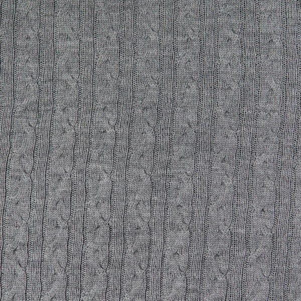 Merino-Strickstoff mit Zopfmuster, grau-meliert