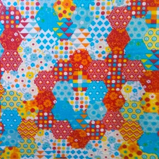 Lena, Patchwork sechseckig, rot-blau, Webstoff