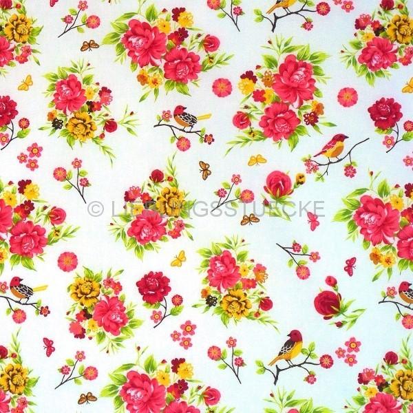 Valerie, Rosen mit Vögelchen auf weiss, Webstoff, *SALE*