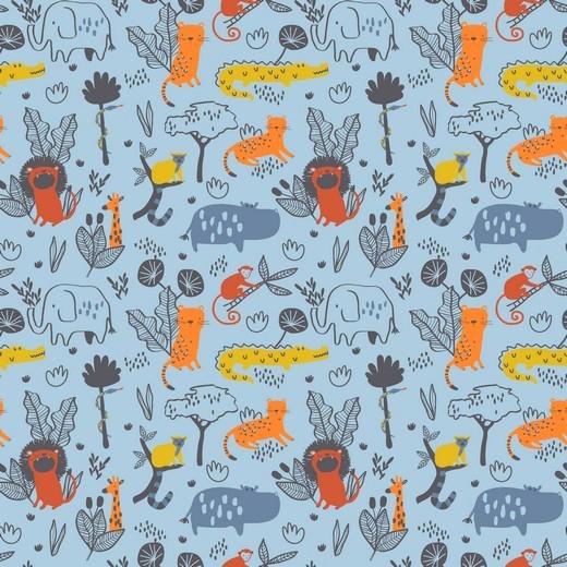 Wild Animals auf blau, Baumwoll-Popeline, 60°waschbar