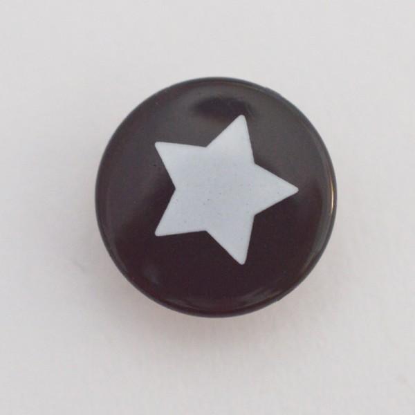 Druckknopf, Stern weiß auf schwarz, 10 mm