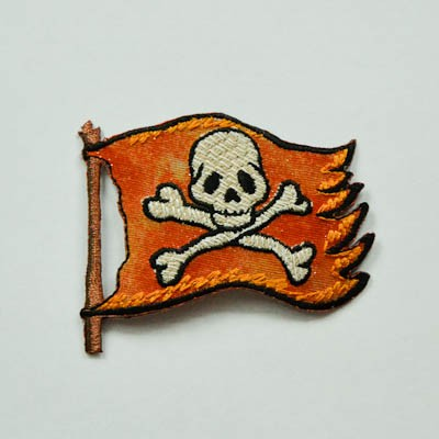 Applikation Piratenflagge, orange