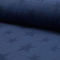 Waffelpique Stars, dunkelblau