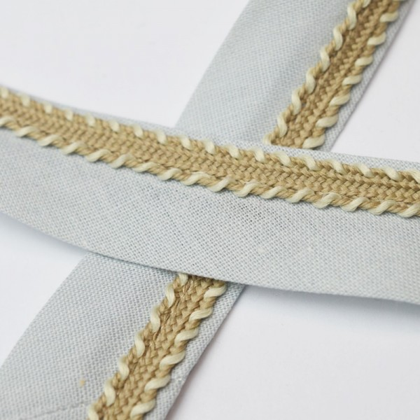 Schrägband mit Borte, grau