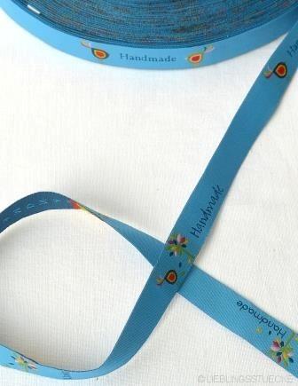 Handmade Blattwerk, hellblau, Webband