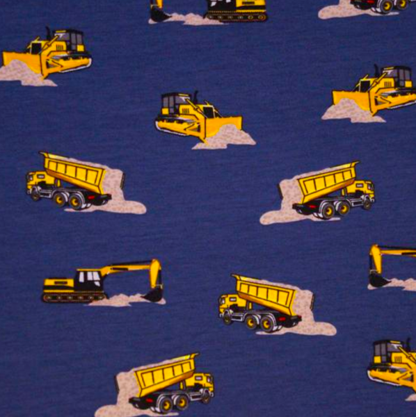 Baustellenfahrzeuge dunkelblau, Baumwollstoff