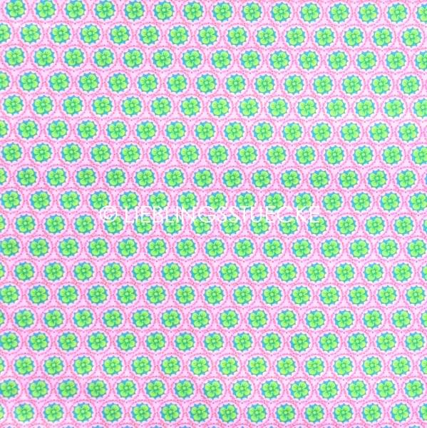 Heidi Blüten im Kreis grün auf rosa, Webstoff
