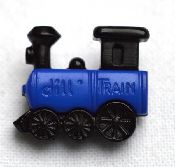 Lokomotive, blau, Knopf