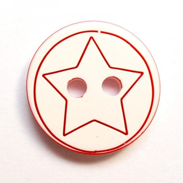 Sternedruck auf weiß, rot, Knopf