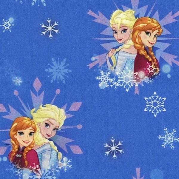 Digitaldruck Frozen, Elsa und Anna auf blau, Jersey