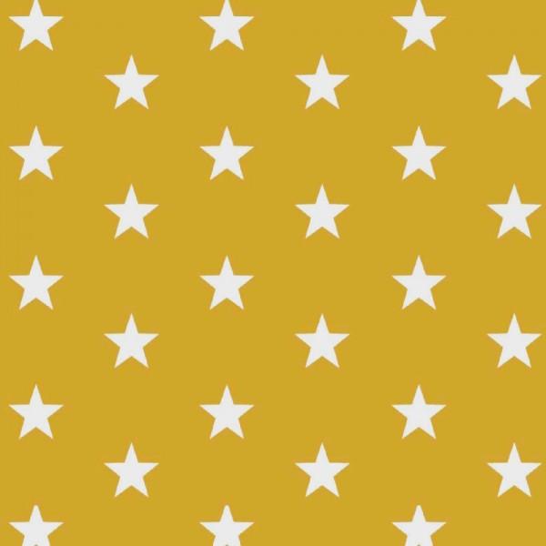Lili Big Star weiß auf senfgelb, Webstoff, waschbar bei 60°