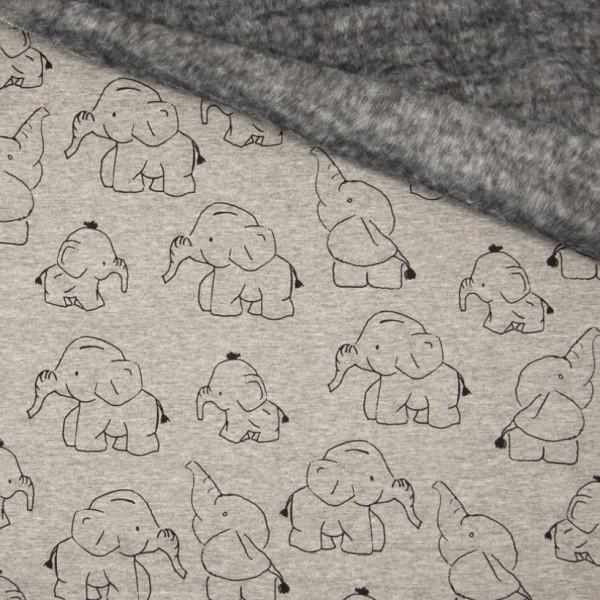 Alpenfleece, Elefanten auf grau-meliert